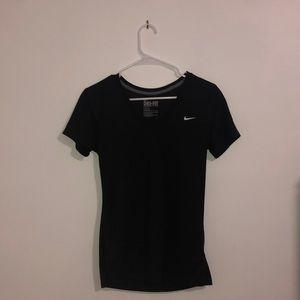 Nike Dri-Fit Black V Neck Short Sleeve T-Shirt